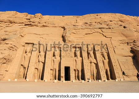 Temple of Hathour built by  Ramses II dedicated to his wife, Nerfertari, Abu Simbel in Egypt - stock photo