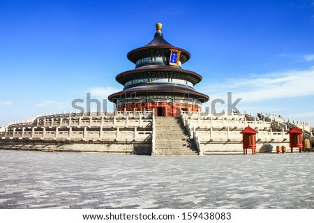 "temple of heaven or ""Tiantan"" pagoda with blue sky in Beijing, China - stock photo"