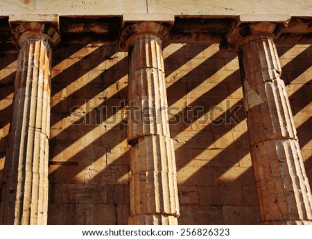 Temple of Hephaestus, close up of doric style columns. Considered Athens' most intact temple. Agora of Athens. Greece. - stock photo