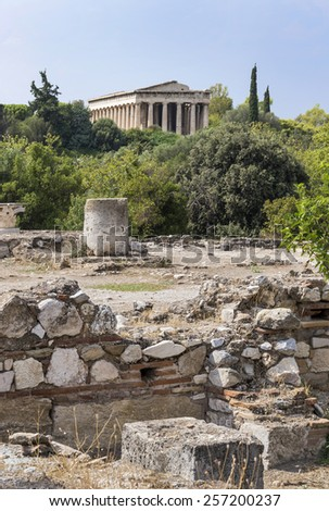 Temple of Hephaestus This magnificent Greek temple is in the Agora area within the Acropolis ruins.  - stock photo