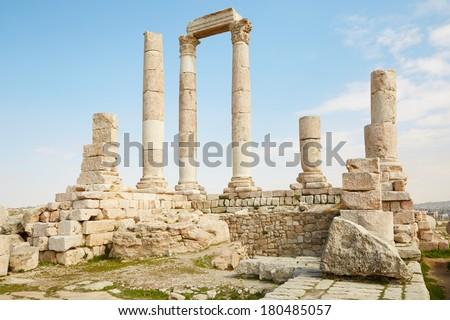 Temple of Hercules on the Amman citadel, Jordan - stock photo