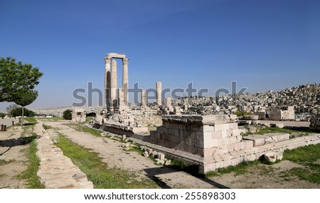 Temple of Hercules, Roman Corinthian columns at Citadel Hill, Amman, Jordan - stock photo
