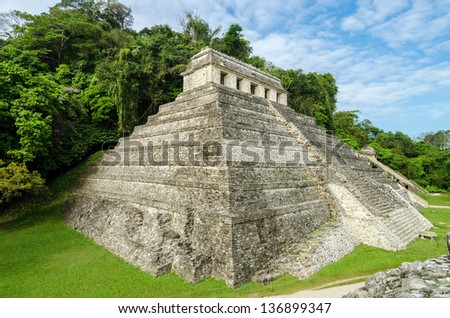 Temple of Inscriptions, the most important temple in the ancient Mayan city of Palenque - stock photo