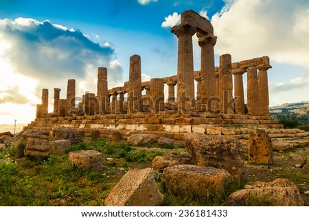Temple of Juno - ancient Greek landmark in the Valle dei Templi outside Agrigento, Sicily - stock photo
