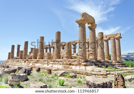Temple of Juno - Valley of the Temples in Agrigento on Sicily, Italy - stock photo