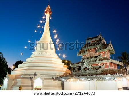 Temple of Phra That Doi Kong Mu, province Mae Hong Son, Thailand - stock photo