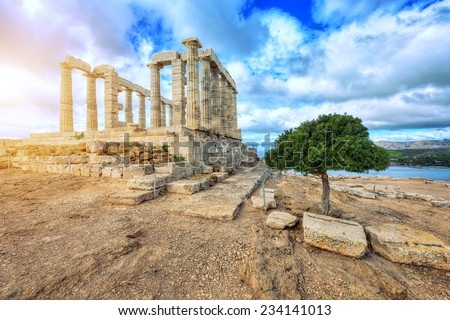 Temple of Poseidon at Cape Sounion in Greece  - stock photo