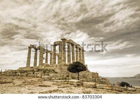 temple of poseidon in Sounio, Greece - stock photo