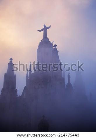 Temple of Sacred Heart of Jesus on Tibidabo, Barcelona, Spain - stock photo