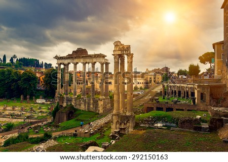 Temple of Saturn and Forum Romanum in Rome, Italy - stock photo