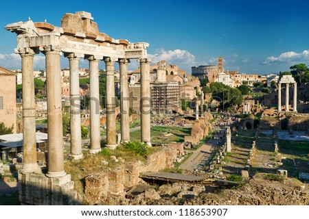 Temple of Saturn. View of the Roman Forum in Rome, Italy - stock photo