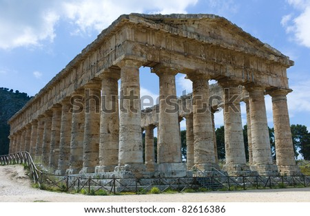Temple of Segesta in Sicily - stock photo