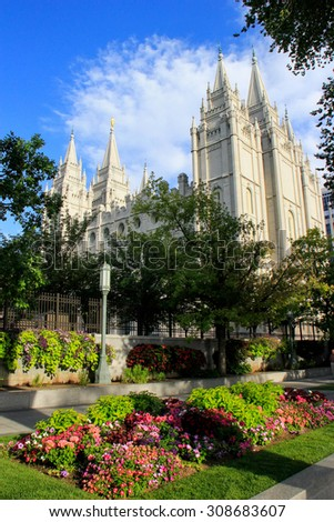 Temple of The Church of Jesus Christ of Latter-day Saints in Salt Lake City, Utah. Salt Lake City is the capital and the most populous city in Utah - stock photo