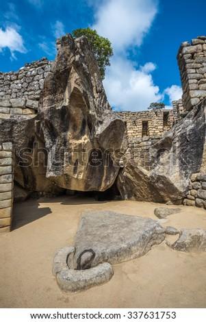 Temple of the Condor, Machu Picchu, Peru - stock photo