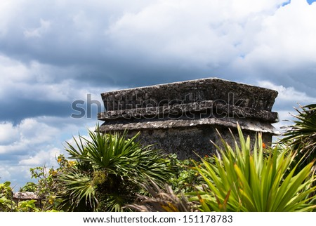 Temple of the Descending God at Tulum Mexico, one of the most tree famous temples - stock photo