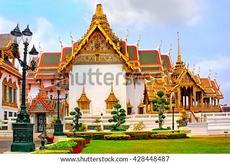 Temple of the Emerald Buddha, Thailand, Bangkok, Wat Phra Kaew; The royal grand palace - stock photo