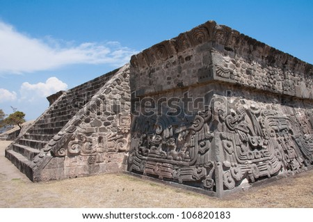 Temple of the Feathered Serpent in Xochicalco (Mexico) - stock photo