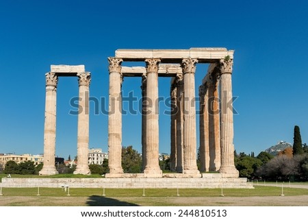 Temple of the Olympian Zeus and the Acropolis in Athens, Greece  - stock photo