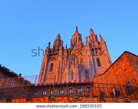 Temple of the Sacred Heart of Jesus on Tibidabo Mountain in Barcelona, Catalonia, Spain - stock photo