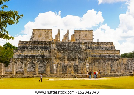 Temple of warriers of Chichen Itza, a large pre-Columbian city built by the Maya civilization. Mexico - stock photo