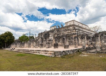 Temple of warriors and a thousand pillars in Chichen Itza, Yucatan, Mexico   - stock photo