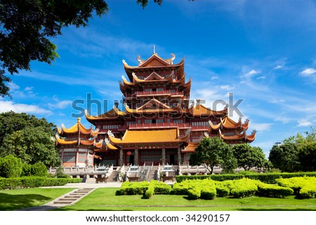 Temple of Xichan in Fuzhou,China. Xichan temple dating from thousand years ago is very famous place for  buddhism in southeast of China. - stock photo