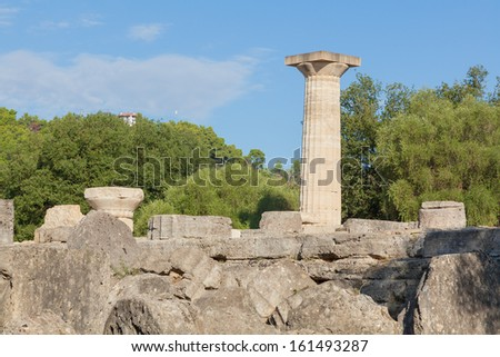 Temple of Zeus at Olympia in Greece - stock photo