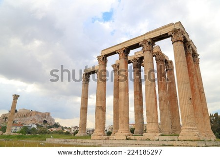 Temple of Zeus with large Corinthian columns in cloudy day, Athens, Greece - stock photo