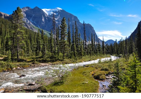 Temple pass trail in Banff National Park, Alberta, Canada - stock photo