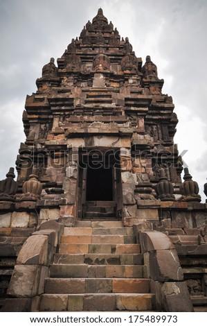 temple Prombanan complex in Yogjakarta in Java, indonesia - stock photo