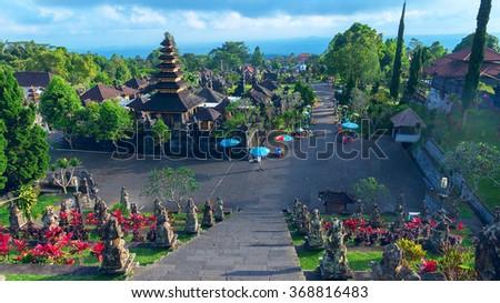 Temple Pura Besakih in Bali, Indonesia at evening - stock photo