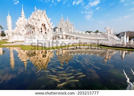 temple Rong Khun, Chiang Rai, Thailand - stock photo