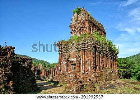 Temple ruin of the My Son complex in Vietnam - stock photo