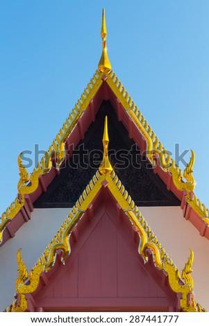 temple Thai art on roof Church  - stock photo