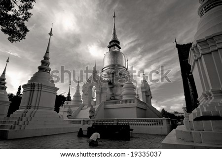 temples in chang mai  thailand - stock photo