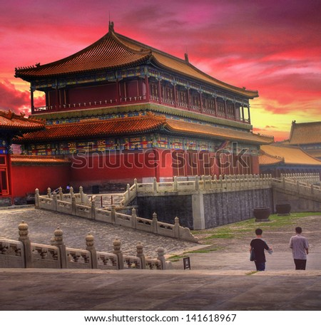 Temples of the Forbidden City in Beijing China during sunset - stock photo