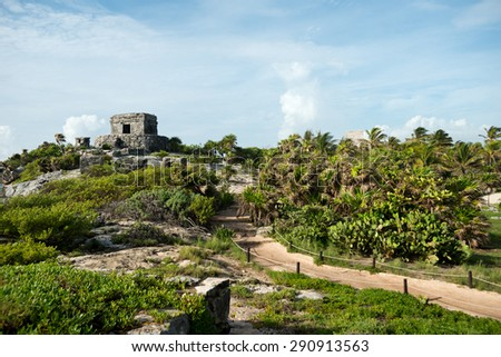 Templo del Viento at Tulum Ruins in  Mexico - stock photo