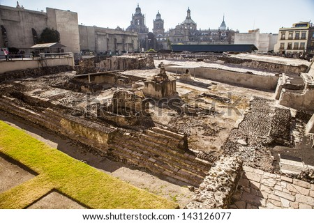Templo Mayor, Temple, ruin, Mexico city - stock photo