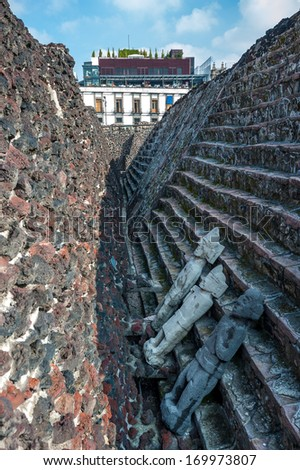 Templo mayor, the historic center of Mexico city - stock photo