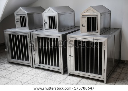 Temporary hotel for pets in shopping center - stock photo