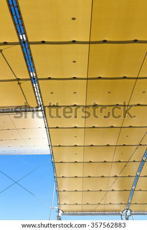 Temporary roof composed by a covering waxed - stock photo