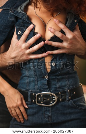 Temptation. Woman and man hugging - stock photo
