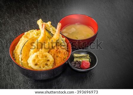 Tempura bowl set Japanese foods - stock photo