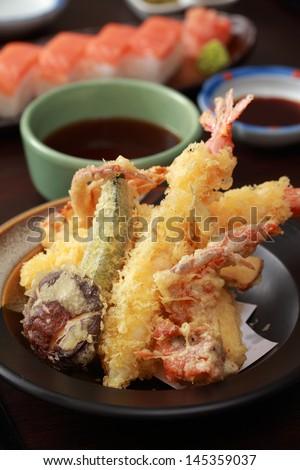 Tempura Shrimps and Crab tempura with Vegetables. Japanese Cuisine - stock photo