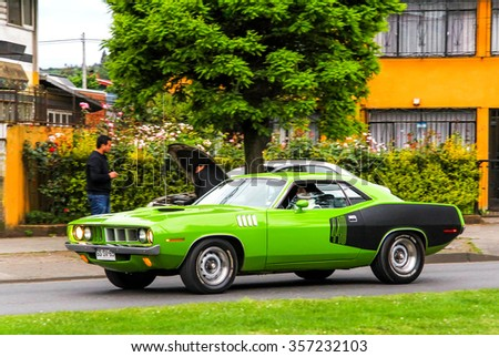 TEMUCO, CHILE - NOVEMBER 22, 2015: Motor car Dodge Challenger in the town street. - stock photo