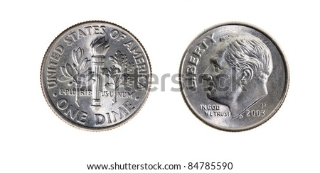 Ten American cents on a white background (a photo of both parties of a coin) - stock photo
