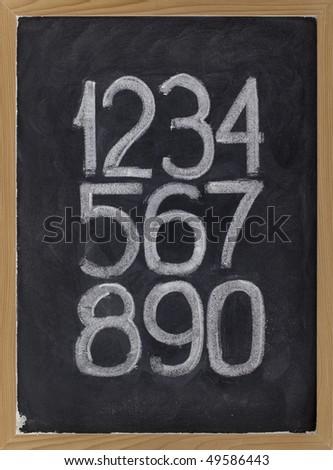 ten arabic numerals handwritten with white chalk on a blackboard - stock photo