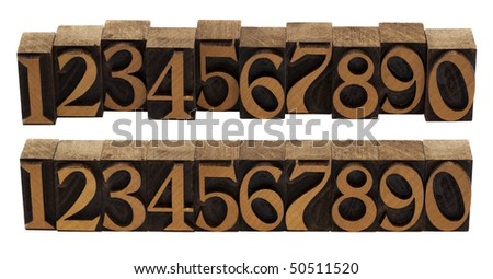 ten arabic numerals 0-9 in vintage wood letterpress blocks stained by black ink,, flipped horizontally, two compositions, isolated on white - stock photo
