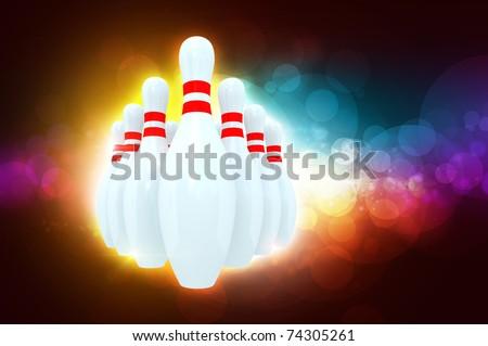 Ten bowling pins - stock photo