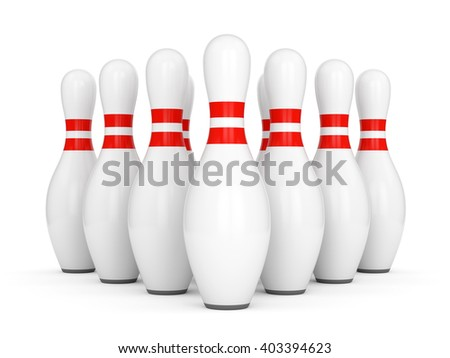 Ten bowling pins with red stripes isolated on white background. 3D illustration - stock photo